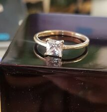Princess cut 9ct Gold Dubai Created diamond ring size L free postage