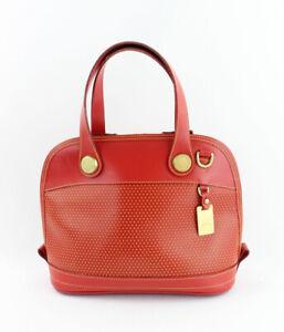 Dooney & Bourke Auth Perforated Red Yellow Leather Satchel Handbag