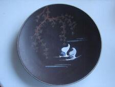 Zierteller, dunkelbraune Keramik, Kraniche, emailliert, 50iger Jahre