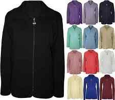 New Womens Plus Size Plain Zip Collar Jumper Top Ladies Knitted Cardigan 10 - 20