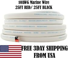 10 AWG Gauge Red Black Tinned Copper Outdoor Trailer Marine Wire Boat Cable 25FT