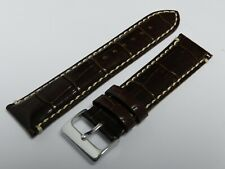 22mm dark brown leather strap with crocodile grain and steel buckle, NEW
