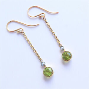 Edwardian Peridot and Pearl Earrings 14ct gold 5cm Long - Exquisite C.1910's