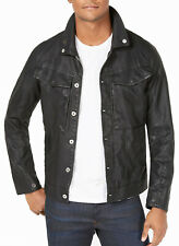 New Mens G-Star Raw Slim Fit Black Full Zip Faux Leather Vodan Pleather Jacket L