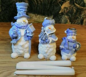 Snowmen Candle Holders Set of 3 Frosty the Snowman Winter Christmas Blue