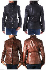 Zip Leather Patternless Casual Coats & Jackets for Women