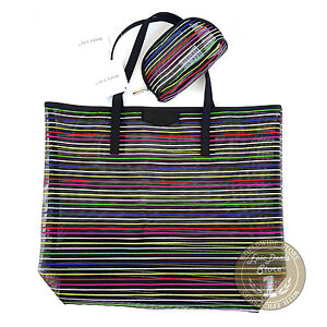 MARY KAY BAG BLACK with Colored Stripes + Cosmetic Organizer, Pouch, LIMITED,NEW