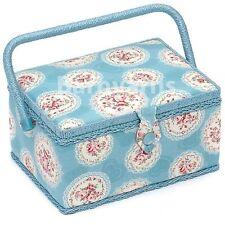 Scatola Media da cucire-cesto per cucito in tessuto, MANIGLIA + Vassoio Cameo Blu Floreale