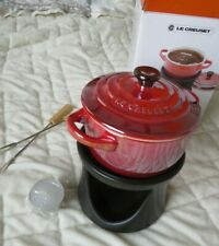 Le Creuset Stoneware RED Mini Cocotte Chocolate Fondue Set with Forks 8 OZ NIB