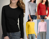 AU STOCK LADIES 100% COTTON PLAIN BASIC LONG SLEEVE SLIM TOP TEE T-SHIRT T166