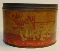 Rare Old Vintage 1950s KOENIG COFFEE KEYWIND COFFEE TIN 1 POUND CINCINNATI OHIO