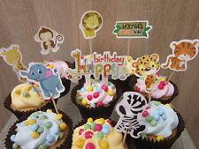 9 Piezas Animal adornos de cupcake Palillos Niños Fiesta Baby Shower Cumpleaños