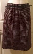 Ann Taylor Career Wool Blend Brown Pink Polka dot Belted Lined Skirt Size 8