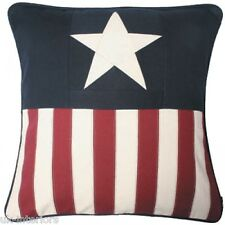 "18"" USA A-STAR FLAG Woven Cotton Cushion A STAR Luxury Quality"