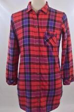 Victoria's Secret Womens Medium Red Flannel Plaid Long Sleeve Button Down Shirt