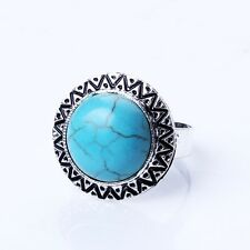 Fashion Men'S Carved Tibet Silver Blue Turquoise Unisex Adjustable Finger Ring