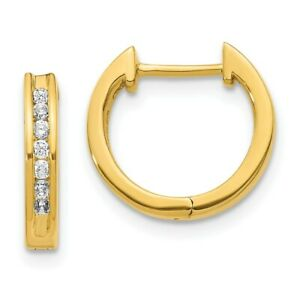 14K Yellow Gold Diamond Hinged Hoop Earrings EM5351-020-YA