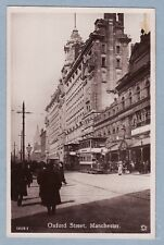VINTAGE POSTCARD - OXFORD STREET MANCHESTER - active scene with trams - RP
