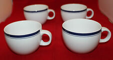 Crate and Barrel Porcelain White Navy Blue Lines 4 Coffee Tea Cup Set Portugal