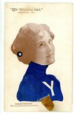 New Haven Conn CT-YALE UNIVERSITY COLLEGE GIRL WINKING-Mechanical Postcard Rare!