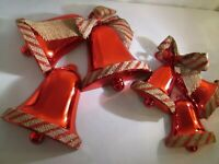 Lot of 2 Glitter & Burlap Trimmed Christmas Bells Red Wall Decoration Vintage