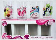 New listing My Little Pony Glassware Set Of Four (4) 8oz Glasses Apple Jack Rarity + Bnib