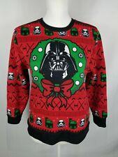 Juniors Star Wars Christmas Sweater Red Large L Darth Vader Disney