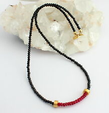 Spinel Ruby Necklace Gemstone Faceted Black Quality Design 45cm