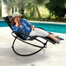 The Gentle Rocking Outdoor Lounger Chair Black tilts backward Headrest