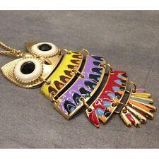 Collier sautoir pour femme avec un pendentif Hiboux très coloré