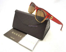 NWT Authentic GUCCI GG3850 Red Gold Glitter Sunglasses 60-17-140 Made In Italy