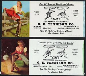 2 Girly Cincy Pin-ups by Elvgren,Ink Blotter Leather Red Skirt Garter Lingerie^