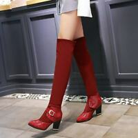 Ladies Block Heel Buckle Strap Pointy Toe Stitching Riding Knee High Boots Shoes