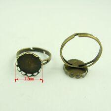 50pcs base 12 * 12mm vintage bronze fer rond décor cameo ring ajusté 38600