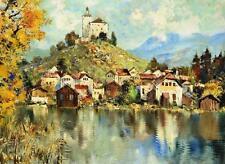 Unbekannt unleserlich / Gemälde / Dorf mit Kirche Kloster / Österreich Südtirol