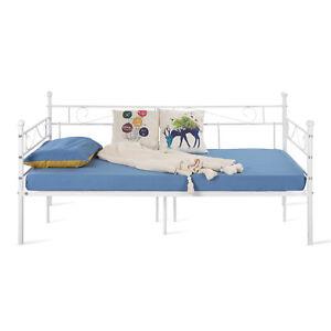 Tagesbett Bettsofa Schlafsofa Einzelbett Metallbett Jugendbett Kinderbett (Weiß)
