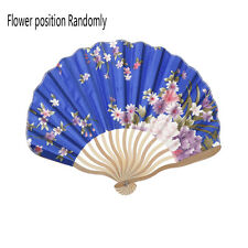 1Chinese colorful Japanese Bamboo Hand Held Folding Floral Pattern stain Fan SR