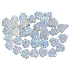 100Pcs Charms Silver Heart Shape Faced Flat Back Resin Beads DIY 10mm