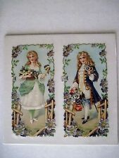 Gorgeous Vintage Die-Cuts of 1800's Boy & Girl Holding Baskets with Pansies *