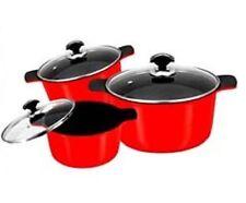 PAN SET 3PC 3 SIZES POTS & PANS GLASS LIDS DIE CAST CERAMIC NON STICK KITCHEN