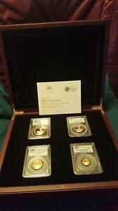 QE2 BRITANNIA 2012 Royal Mint GOLD Proof RARE PCGS First Strike Set of 4 to 1 oz