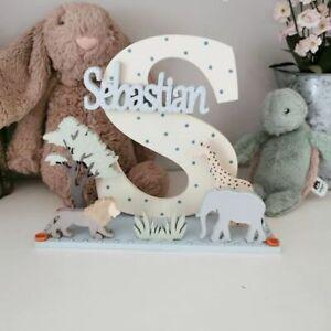 Freestanding Wooden Letter, Kids Letters, Name Sign, Safari Nursery Decor, Baby