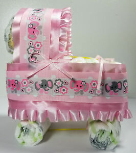 Diaper Cake Bassinet/Carriage - Pink with Pink and Gray Elephants Theme