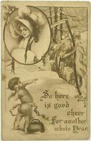 1911 Kathryn Elliott Nouveau Cherub Grim Reaper Old Man Winter New Year Postcard