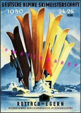 Ski Germany 1956 Alpine Skimeisterschaft Vintage Poster Print Retro Winter Art