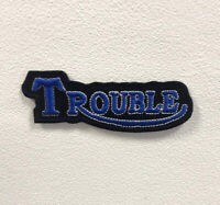 Trouble Art Badge Clothes Black Iron on Sew on Embroidered Patch appliqué