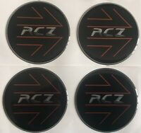 PEUGEOT RCZ COUPE ALLOY WHEEL DOMED RESIN CENTRE CAP STICKERS X4 45MM BLACK SIL
