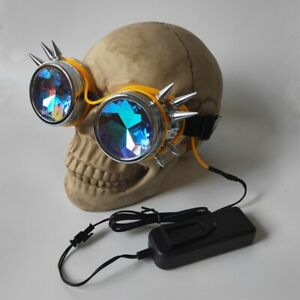 Steampunk Luminous Light Kaleidoscope Glasses Metallic Rivet Masquerade Party Go