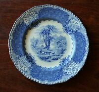 Antique  1935 ROYAL DOULTON  BLUE ORIENTAL PLATE  COWS FARMER WATER MILL flow