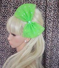 NEON GREEN SPARKLE BOW TULLE TUTU NET ALICE HAIR HEADBAND 80s PARTY FANCY DRESS